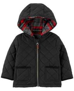 Baby Boy Zip-Up Flannel-Lined Hoodie