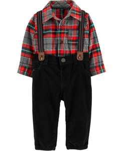 Baby Boys Plaid Shirt, Pants & Suspenders Set