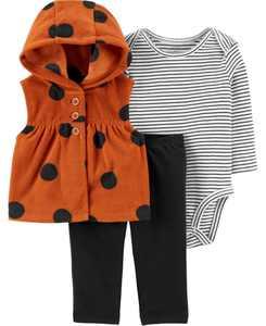 Baby Girl  3-Piece Polka Dot Little Vest Set
