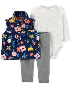 Baby Girl  3-Piece Floral Little Vest Set