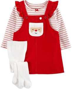 Baby Girl 3-Piece Striped Tee & Santa Jumper Set