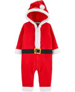 Baby Boy or Girl Santa Zip-Up Jumpsuit