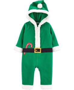 Baby Boy or Girl Christmas Elf Zip-Up Jumpsuit