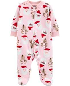 Baby Girl Christmas Zip-Up Fleece Sleep & Play