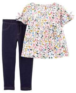Baby Girl 2-Piece Floral Flutter Tee & Jegging Set