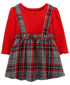 Baby Girl 2-Piece Holiday Plaid Jumper Set