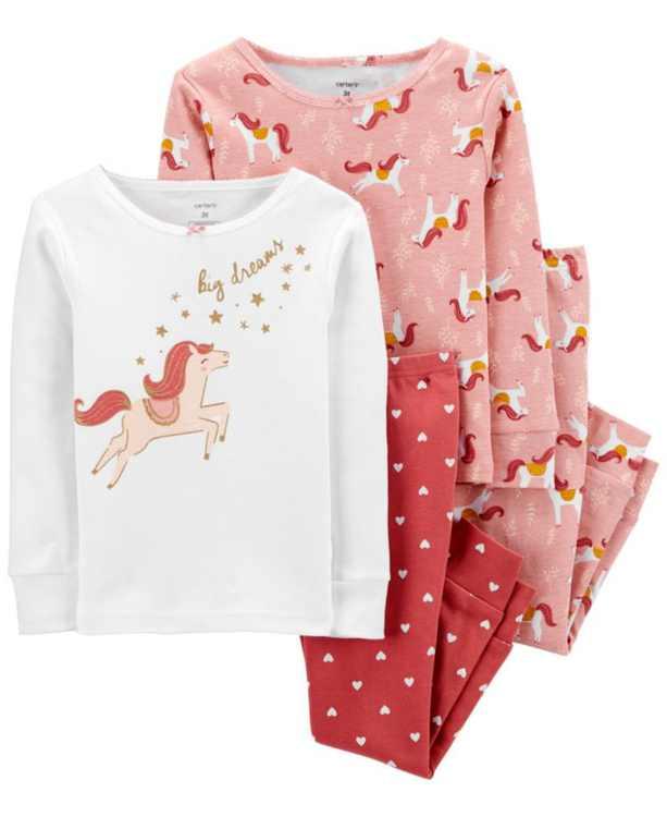 Baby Girl  4-Piece Horse Snug Fit Cotton PJs