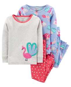 Baby Girls 4-Piece 100% Snug Fit Cotton PJs