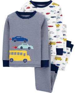 Baby Boys 4-Piece 100% Snug Fit Cotton PJs