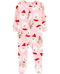 Baby Girl  1-Piece Santa Fleece Footie PJs