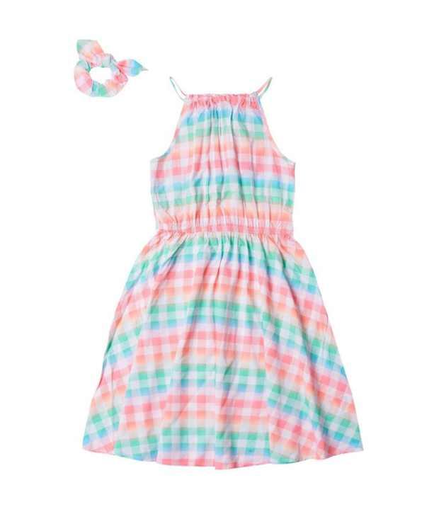 Big Girls High Neck Challis Dress with Matching Scrunchie