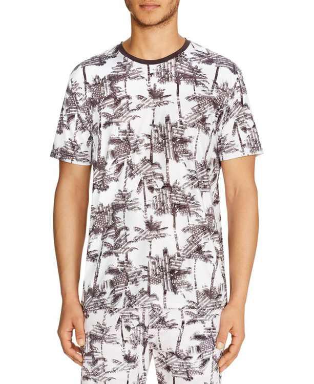 Men's Slim-Fit Stretch Palm Tree Short Sleeve Shirt