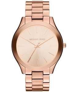 Unisex Slim Runway Rose Gold-Tone Stainless Steel Bracelet Watch 42mm MK3197