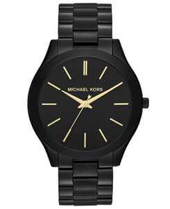Unisex Slim Runway Black-Tone Stainless Steel Bracelet Watch 42mm