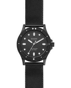 Women's Fisk Black-Tone Stainless Steel Mesh Bracelet Watch 38mm