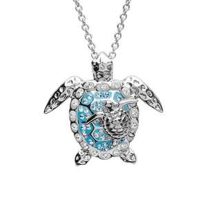 Women 925 Sterling Silver Sea Turtle Mother Baby Pendant Necklace