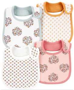 Baby Girl 4-Pack Floral Teething Bibs