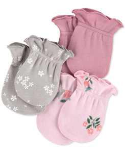 Baby Girls 3-Pk. Cotton Mittens