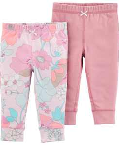 Baby Girls 2-Pack Pull-On Cotton Pants