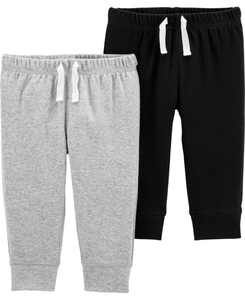 Baby Boys 2-Pack Pull-On Cotton Pants
