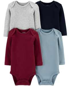 Baby Boys or Girls 4-Pk. Multi-Color Long-Sleeve Cotton Bodysuits