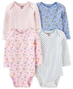 Baby Girls 4-Pk. Printed Cotton Long Sleeve Bodysuits