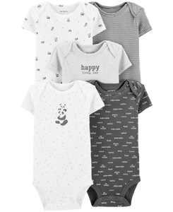 Baby 5-Pk. Cotton Panda Bodysuits