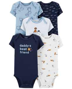 Baby Boys 5-Pk. Cotton Daddy's Best Friend Bodysuits
