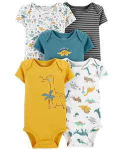 Baby Boys 5-Pack Dinosaurs Printed Cotton Bodysuits