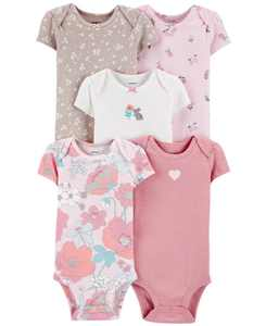 Baby Girls 5-Pack Floral-Print Cotton Bodysuits
