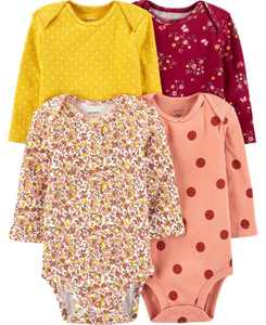 Baby Girls 4-Pack Floral Original Bodysuits