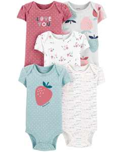 Baby Girls 5-Pack Strawberry Printed Cotton Bodysuits