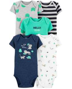 Baby Boys 5-Pack Wild Printed Cotton Bodysuits