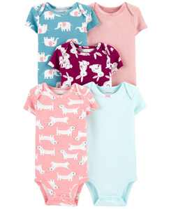 Baby Girls 5-Pack Animals Printed Cotton Bodysuits