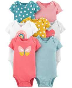 Baby Girls 7-Pk. Cotton Printed Bodysuits