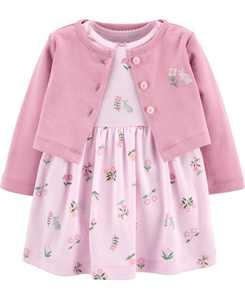 Baby Girls 2-Pc. Cotton Cardigan & Floral-Print Dress Set