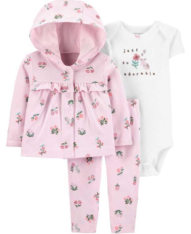 Baby Girls 3-Pc. Graphic Bodysuit, Floral-Print Hoodie & Pants Set