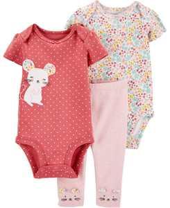 Baby Girls 3-Pc. Little Mouse Cotton Bodysuits & Pants Set