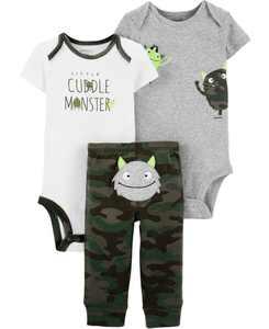 Baby Boys 3-Pc. Cuddle Monster Cotton Bodysuits & Pants Set