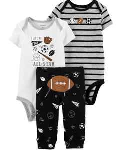 Baby Boys 3-Pc. Football Cotton Bodysuits & Pants Set