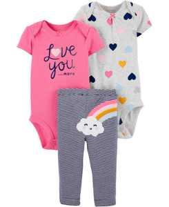 Baby Girls 3-Pc. Love You Hearts & Rainbow Cotton Bodysuits & Pants Set