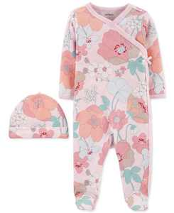 Baby Girls 2-Pc. Cotton Floral-Print Coveralls & Hat Set