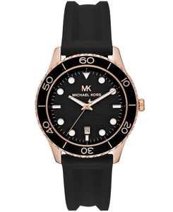 Women's Runway Three-Hand Black Silicone Watch
