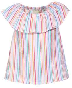 Baby Girls Striped Flutter Top, Created for Macy's