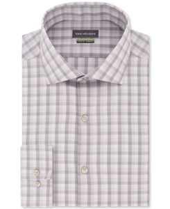Men's Slim-Fit Non-Iron Stretch Plaid Dress Shirt