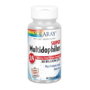 Solaray Super Multidophilus 24 Strain Probiotic   30 Billion CFU   Healthy Gut Support   30 Serv   60 Enteric VegCaps