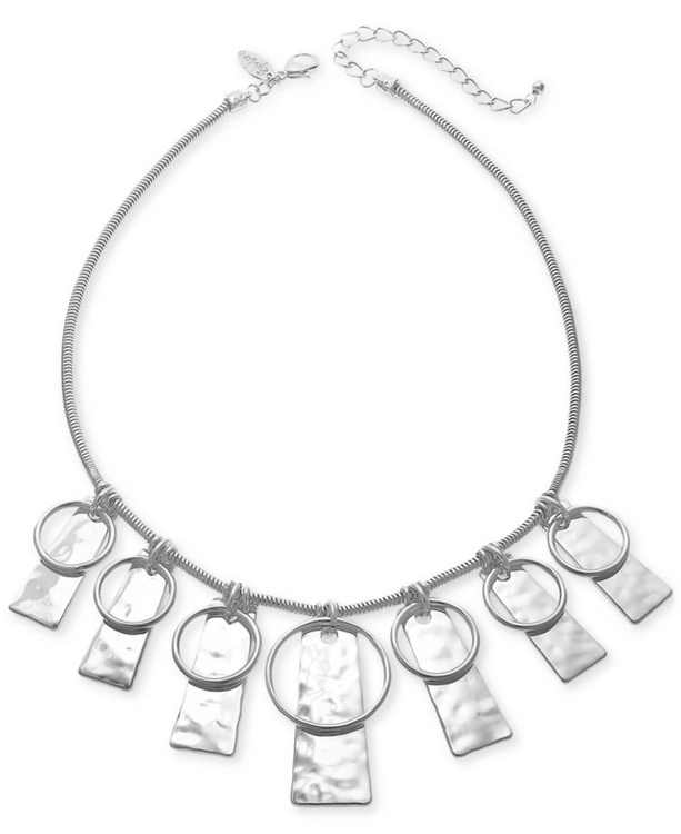 """Circle & Hammered Rectangle Statement Necklace, 21"""" + 3"""" extender, Created for Macy's"""