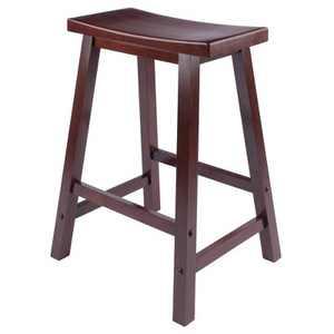 """Saddle Seat 24"""" Counter Height Barstool Hardwood/Walnut - Winsome"""