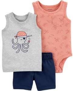 Baby Boys Octopus Little Short, 3 Piece Set