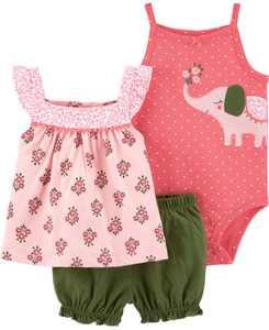 Baby Girls Elephant Little Short, 3 Piece Set